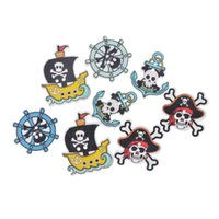 Wholesale Decorative Sewing Buttons - 50PCs Mixed Pirate Style 2 Holes Wooden Buttons DIY Scrapbooking Crafts Decoration Sewing Accessories Decorative Buttons