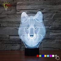 führte tierlampen großhandel-Großhandel-Neue Ankunft 7 Farbwechsel 3D Tischlampe Wolf Tier Schlafzimmer Led-beleuchtung Spielzeug Dekorative Weihnachten Nachtlicht Usb-stecker Energienbank
