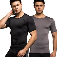 Wholesale T Shirts For Skinny Men - Wholesale- Fashion Brand Men Sexy Skinny Bodybuilding Compression T Shirts Short Sleeve Undershirt Solid Color Summer For Men