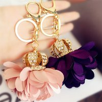 Wholesale Petal Car - Fashion Accessories Ladies Metal Keychain Crown Petal Flowers Crystal Luxury Jewelry Wholesale Good Gift Top Quality Free Shipping