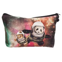 Wholesale Handbag Panda - 2017 Fashion Makeup Bag Wallet Galaxy Panda and Cat cosmetics Bag Travel Bag neceser mochila bolsa feminina Handbag organizer Makeup Pouch