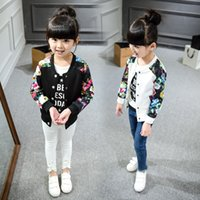 Wholesale Baseball Uniform Wholesale - whosale children clothing 2017 spring autumn girl broken flower baseball uniform children outwear jacket