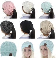 Wholesale 12 Year Old Girls Fashion - Newest Children CC Beanies Winter Woolen Caps Kids Ponytail Hats Girl Winter Warm Knitted Crochet Skull Beanie 6 Colors For 3-12 Years Old