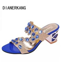 Wholesale Dress Shoes Slippers Women - Wholesale-Size 35-41 New 2016 Summer Fashion Rhinestone Cut-outs Women High Heel Sandals Ladies Party Dress Shoes Woman Slippers L35