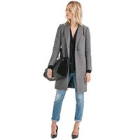 Donne grigie Trench manica lunga Turn-down Casual Slim Cappotti Donne Single Button Doppie tasche Basic Outwears all'ingrosso