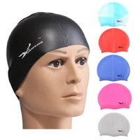 Wholesale Waterproof Swim Caps Hair - Wholesale Waterproof Flexible Silicone Swimming Cap Ear Protect Long Hair Protection Swim Caps Hat Cover For Adult Children Kids Free Shippi