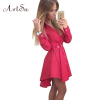 Wholesale Cardigan Out Wear - Wholesale- New 2017 Preppy Style Women Summer Dress Sexy 3 4 Sleeve Red Plaid Print Office Shirt Cardigan Dresses Work Wear DR5985