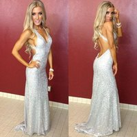 Wholesale Bling Dress Split - Sexy Silver Bling Sequined Open Back Prom Dresses 2017 Long Party Prom Gowns Halter Plunging V Neck Pageant Red Carpet Dresses