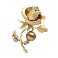 Wholesale Rose Diamond Brooch - hot sale fashion jewelry high quality 18k ladies elegant rhinestone diamond pearl rose flower leaves plant designer pin brooch