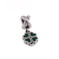 Wholesale Lucky Heart Bracelet 925 - Wholesale- Authentic 925 Sterling Silver Lucky Four Leaf Heart Charm sterling-silver-jewelry DIY Beads Fits Charms Bracelet