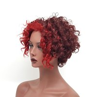 Wholesale Wigs Short Hair Red - Fashion Wine Red Curly Short Wigs for Black White Women Synthetic Hair Pelucas Sinteticas Perruque Peruca Pruiken Peruk XT1052