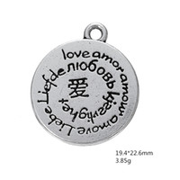 Wholesale chinese love bracelet - Vintage DIY Love Message Chinese Character Round Charm Christian Jewelry For Necklace Bracelet Making Free Shipping