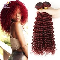 Wholesale Curly Virgin Malaysian Hair Styles - New Style Burgundy Hair deep Curly Weave 99j brazilian Malaysian Peruvian mongolian Curly Virgin Hair 4pcs lot Top Grade Wine Red 99j Hair