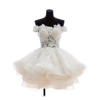 Wholesale Real Actual Rhinestone Crystal Dress - Actual Images Short Lovely Ball Gown Homecoming Dresses Bateau Off-Shoulder Appliques Rhinestone Bandage Organza Mini Real Photos