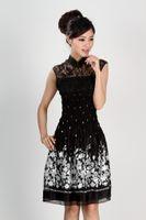 cheongsam sexy de verano al por mayor-Shanghai Story cheongsam vestido estilo tradicional chino sexy de encaje hasta la rodilla vestido de verano negro encaje qipao vestido