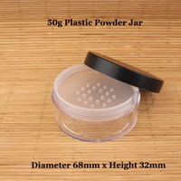 Wholesale Plastic Sifter Jars - Wholesale- 30pcs Lot Wholesale 50g Plastic Loose Powder Jar with Sifter 50ml Cosmetic Cream Container Black Matte Cap Makeup Compact