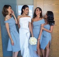 Wholesale Unique Bridesmaid Gowns - Unique Beach Bridesmaid Dresses Sleeves Backless Knee Length Formal Wedding Guest GownS With Sheath Off Shoulder Sky Blue Satin Cheap