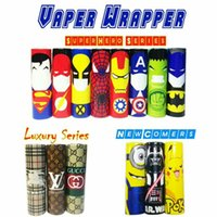 Wholesale Wholesale Wraps - 18 Styles Superhero Luxury Star Wars Pikachu Superman 18650 Battery PVC 70mm Skin Sleeve Shrinkable Tubing Wrap Heat Shrink Re-wrapped DHL