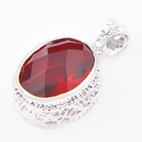 Wholesale Red Oval Gemstone - Free shipping - 5pcs lot Charm Sapphire Fashion Antique Oval Garnet Gemstone Dangle Pendant & Nacklace P01001