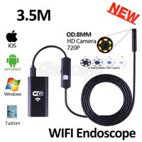Wholesale wifi snake camera - 8mm Lens WIFI Endoscope Iphone Camera HD 720P 3.5M Flexible Snake USB Pipe Inspection Borescope Android IOS Tablet PC HD Camera