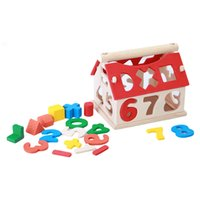 Wholesale Toy Wooden House Block - Wholesale- Houses Wooden Building Blocks Toy Multicolor Number Blocks Toy Kids Learning Math Kids Toys Educational Toys LA879327