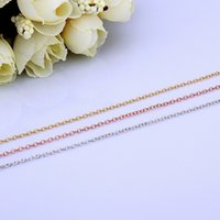 Wholesale Rolo Gold Chain - High Quality Rolo Link Chains 1.5mm 18 inch Chain fit DIY Necklaces fine Jewelry 18K Gold   Rose Gold   925 silver platinum plated