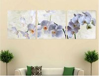 Wholesale Orchids Framed - 3p Wall Art Moth orchid Picture Oil Painting Canvas No Framework Abstract Print For Home Modern Decoration framed art