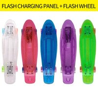 Wholesale Penny Board Long - transparent Single warp fish long board adult children penny skateboard PU 4wheels flashing outdoor sports Bodybuilding Single headed