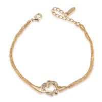 Wholesale Two Heart Rhinestone Charm - Fashion Charm Bracelets Bangles For Women Charm Chain Bracelet 18K Gold Jewelry Brand New Double Heart Crystal Bracelet Two Colors
