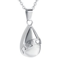 Wholesale heart tear - 8397 Tear-drop Cremation Urn Necklace For Pet Human Ashes Stainless Steel Ash Keepsake Urn Necklace Women Hold Ashes Memorial Jewelry