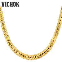 erkekler için altın yılan kolye toptan satış-Moda Erkekler Kolye Yılan Zincir Kolye Paslanmaz Çelik 18 K Altın Kaplama Zincir Kolye Bilezik Set VICHOK