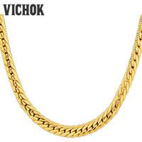 gold schlange halskette für männer großhandel-Mode Männer Halskette Schlangenkette Halskette Edelstahl 18 Karat Gold Überzogene Kette Halskette Armbänder Set VICHOK