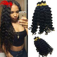Wholesale Virgin Indian Curly Braid Hair - Hannah 7A Brazilian Virgin Human Hair Deep Curly Wave Bulk For Braiding 3 Bundles 150g Hair Soft No Weft Natural Color