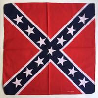 pamuk örtüleri toptan satış-Confederate Rebel Bayrak Bandanalar Rags Headwraps Yapmak Iç Savaşı Banner Pamuk Kafa Hip Hop Kare Eşarp Headcloth Fular Bayraklar 2 35 ...