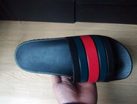 Wholesale Leather Soft Sole Slippers - 2017 mens slide striped sandals with rubber sole with web rubber strap boys fashion indoor flip flop Classic Black White Red