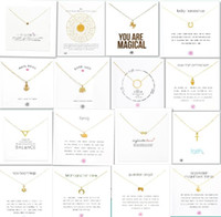 Wholesale kinder party - With white card! Very cute! Gold plated clavicle Necklace with 27 kinds pendants, elephant wishbone cross unicorn love, free shipping