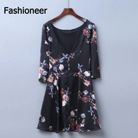 Wholesale Butterfly Print Dresses For Women - Fashioneer women vintage floral Printed loose dress loose butterfly long sleeve o neck ladies casual retro dresses vestidos For Ladies