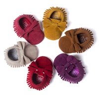 Wholesale Leather Bow Top Wholesale - Baby moccasins PU Leather baby moccs girls bow moccs Top Layer soft leather moccs baby booties toddler shoes kids First Walkers