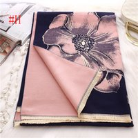 Wholesale Multi Color Flower Ring - New fashion women high quality and brand designer scarf Begonia flower color Sweet shawl Factory wholesale price