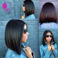 Wholesale u part wig brazilian bob - Peruvian Virgin Hair Straight Short Bob U Part Wigs Unprocessed 130Density UPart Human Hair Wigs For Black Women Middle Part