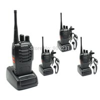 Wholesale Pmr Baofeng - Wholesale-4pcs lot 2014 BaoFeng BF-888S Walkie Talkie 888s UHF 400-470MHz Interphone 2 Way PMR Radio Handled Intercom with earpiece