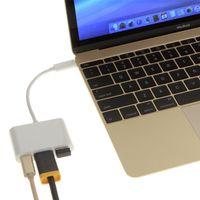 hdmi port tablet venda por atacado-3in1 tipo-c para hdmi usb-c adaptador multiporte digital 4 k fêmea 2 portas USB 3.0 HUB USB-C OTG Carregador para Macbook