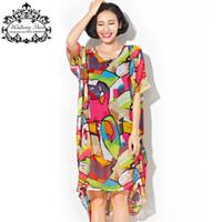 Wholesale plus size tee shirt dress - Wholesale- Plus Size Chiffon Dress Summer Women's Clothing Colorful Fashion Long T-Shirt Print Big Size Dresses Loose Female Tops&Tees