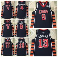 Wholesale Xxl Six - Athens Olympic Team 2004 USA Basketball Jerseys Dream 6 SIX 21 Tim Duncan 23 LeBron James 4 Allen Iverson Jersey Navy Blue Color