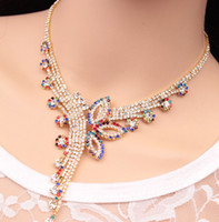 Collier En Bijoux Pourpre Pas Cher-2017 Fashion Vintage Delicate Flower Jewelry Sets Ethnic Gold Color Boho Purple Butterfly Collier en ornement collier Choker pour les femmes