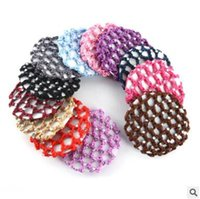 Wholesale Wholesale Hair Nets For Buns - Women Bun Cover Snood Hair Net Ballet Dance Skating Mesh Bun Cover For Women Crochet Diamond Hairnet Candy Color 364