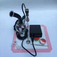 Wholesale Oil Temp - mini Dnail Portable PID Coil Heater Enail Kit Temp Controller Box With Recycler Glass bong Water pipe Glass pipe For Oil Rig DHL