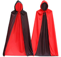 mann capes groihandel-Sehr cool Vampir Kostüm der Männer Schwarzer Mantel mit Kappe, Halloween Kostüm Kleid Cape für Vampir Magier Doppelgesicht Polyester Mantel, kann