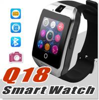 kamera bluetooth telefon großhandel-Q18 Smart Watch Uhren Bluetooth Smartwatch Armbanduhr mit Kamera TF SIM-Kartensteckplatz / Schrittzähler / Anti-verloren / für Apple Android-Handys