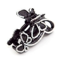 Wholesale Black White Butterfly Fabric - Large Cute Butterfly Crystal Hair Clips Beautiful Girls Stones Hairpins Crab Claws Jaw Clamp Hair Jewelry for Women